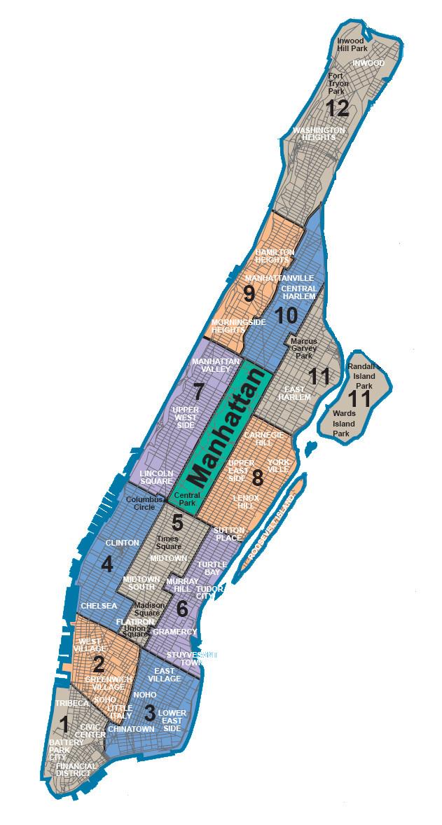 Karte Manhattan Pdf.Karte Und Plan Die 5 Bezirke Boroughs Und Stadtteile Von