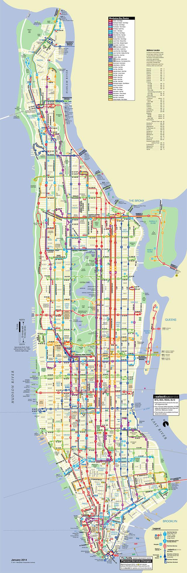 Karte Manhattan Pdf.Bus Netzplan Und Karte Von New York Stationen Und Linien Und